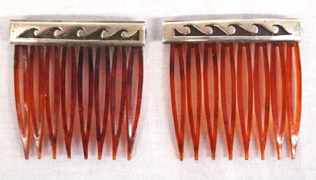 Native American Navajo Sterling Silver Hair Combs