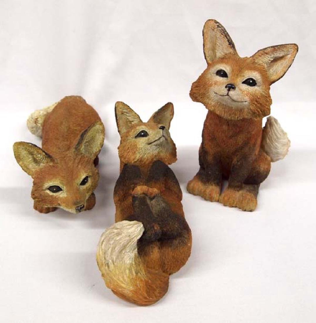 3 Large Resin Red Fox Figures