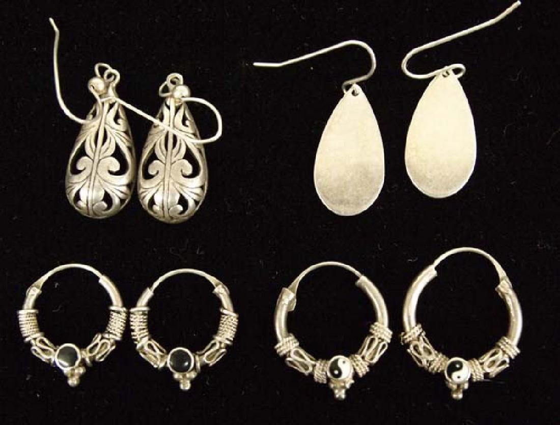 4 Pairs Vintage Mexican Sterling Silver Earrings