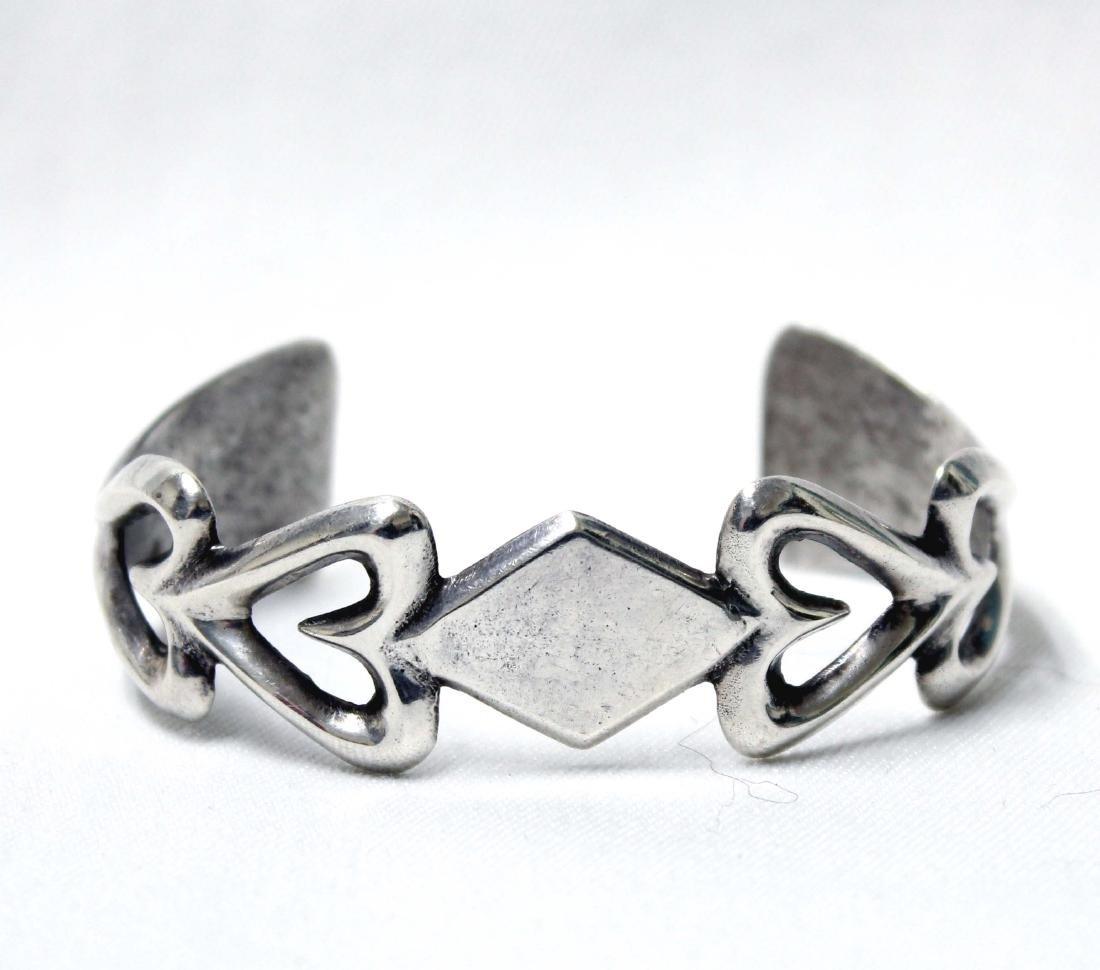 Native American Navajo Silver Sandcast Bracelet