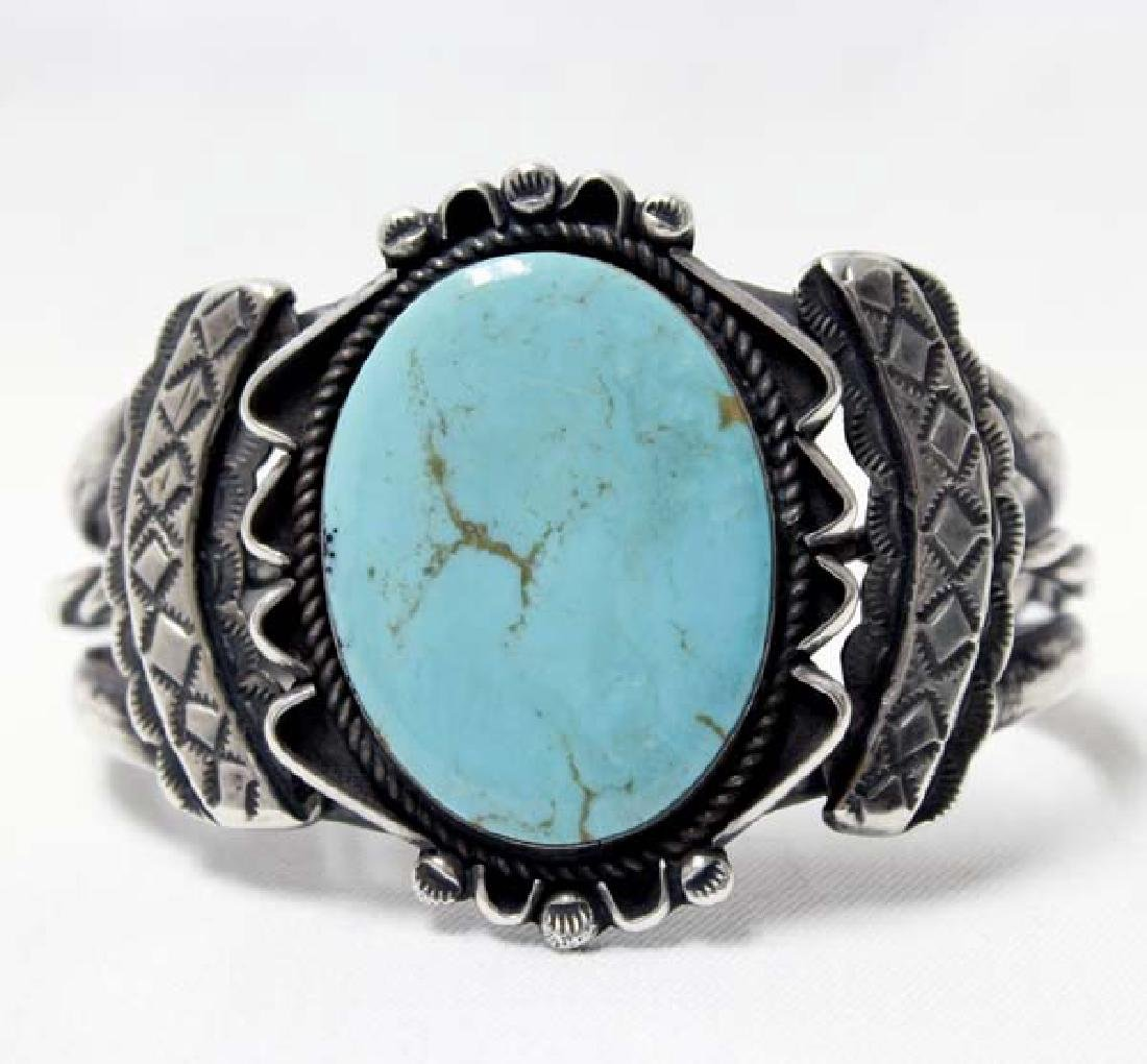 Large Navajo Old Pawn Silver Turquoise Bracelet