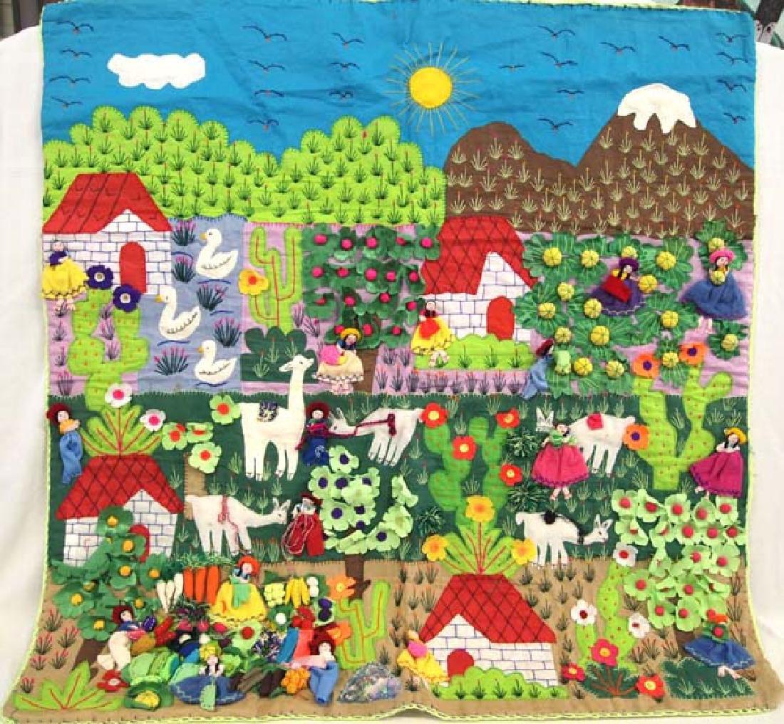 Rare Peruvian Arpillera Appliqued Tapestry