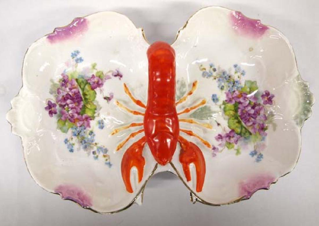 Antique German Schachtel Divided Lobster Bowl