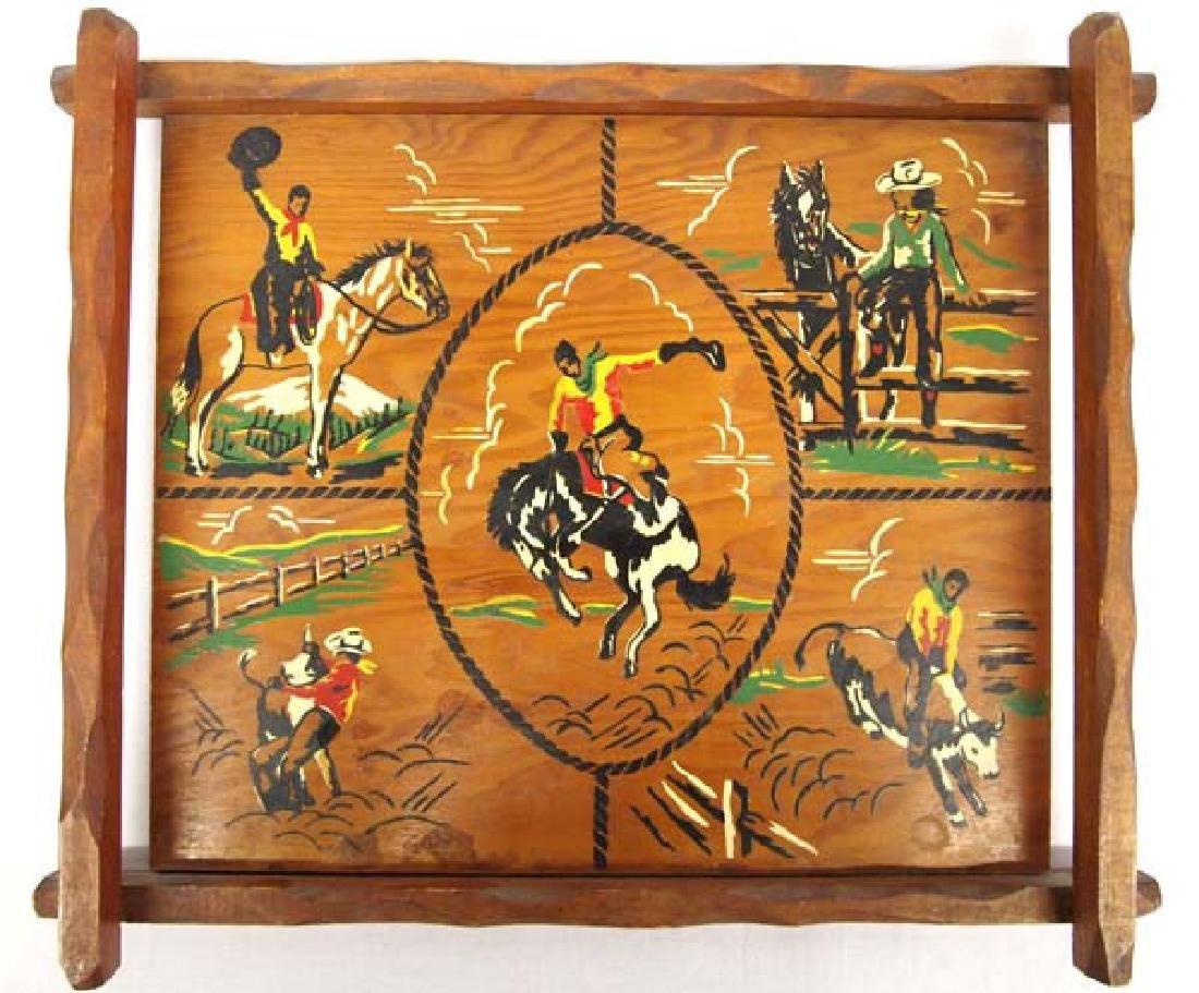 Hand Painted Western Americana Wood Tray
