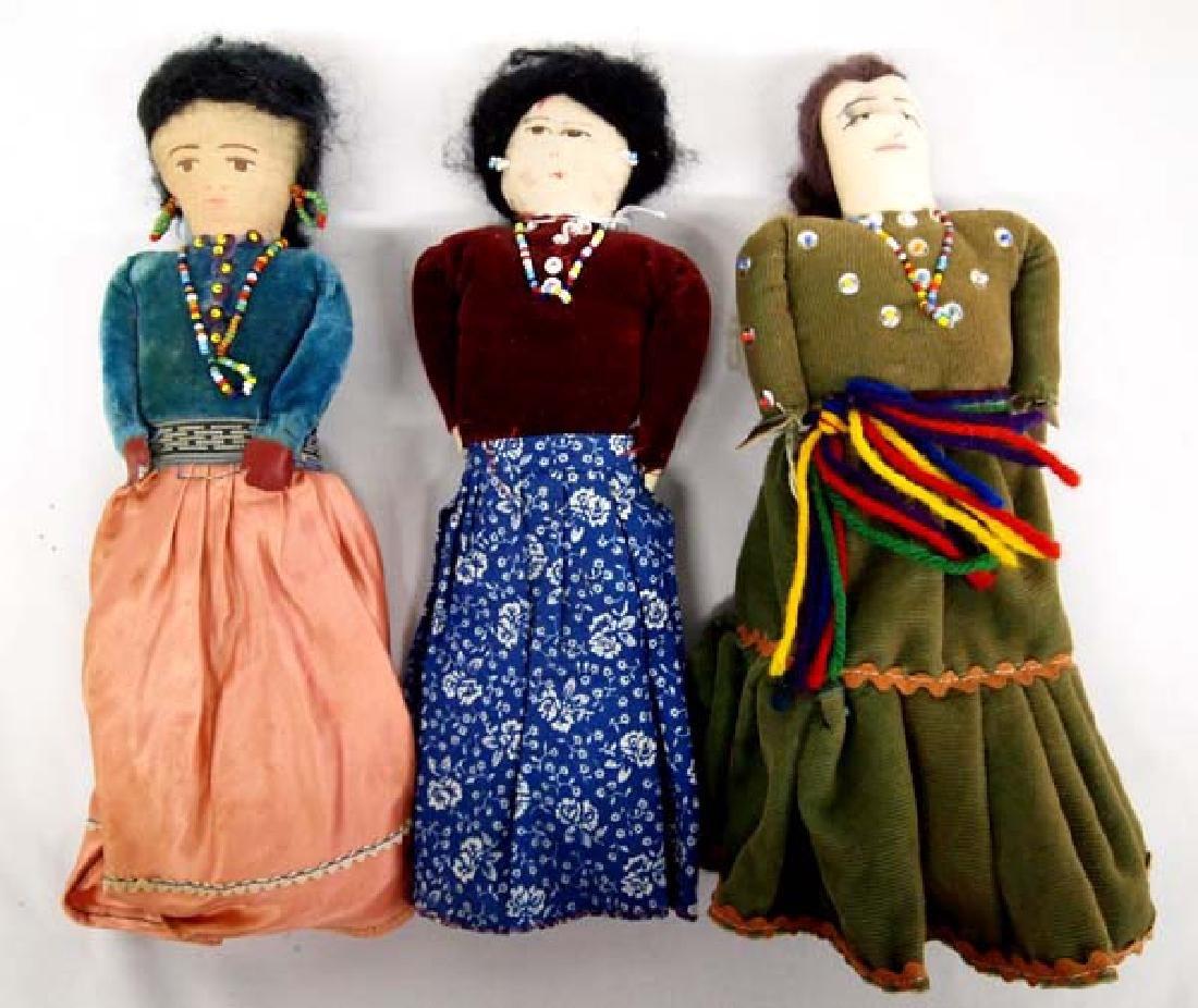 3 Vintage Native American Navajo Dolls