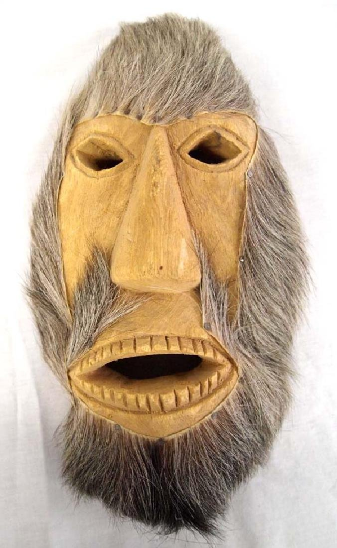 Canadian Inuit Carved Wood and Fur Mask