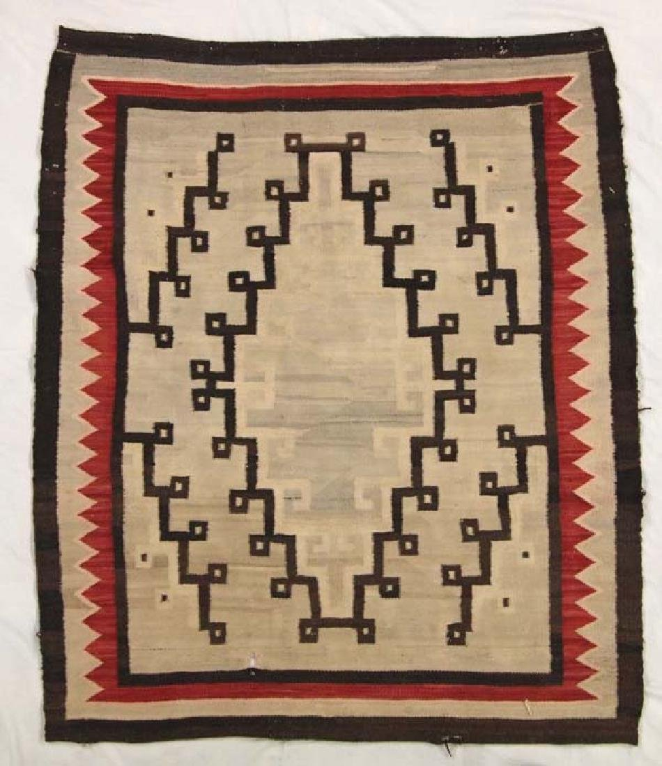 Antique Native American Navajo Wool Textile Rug