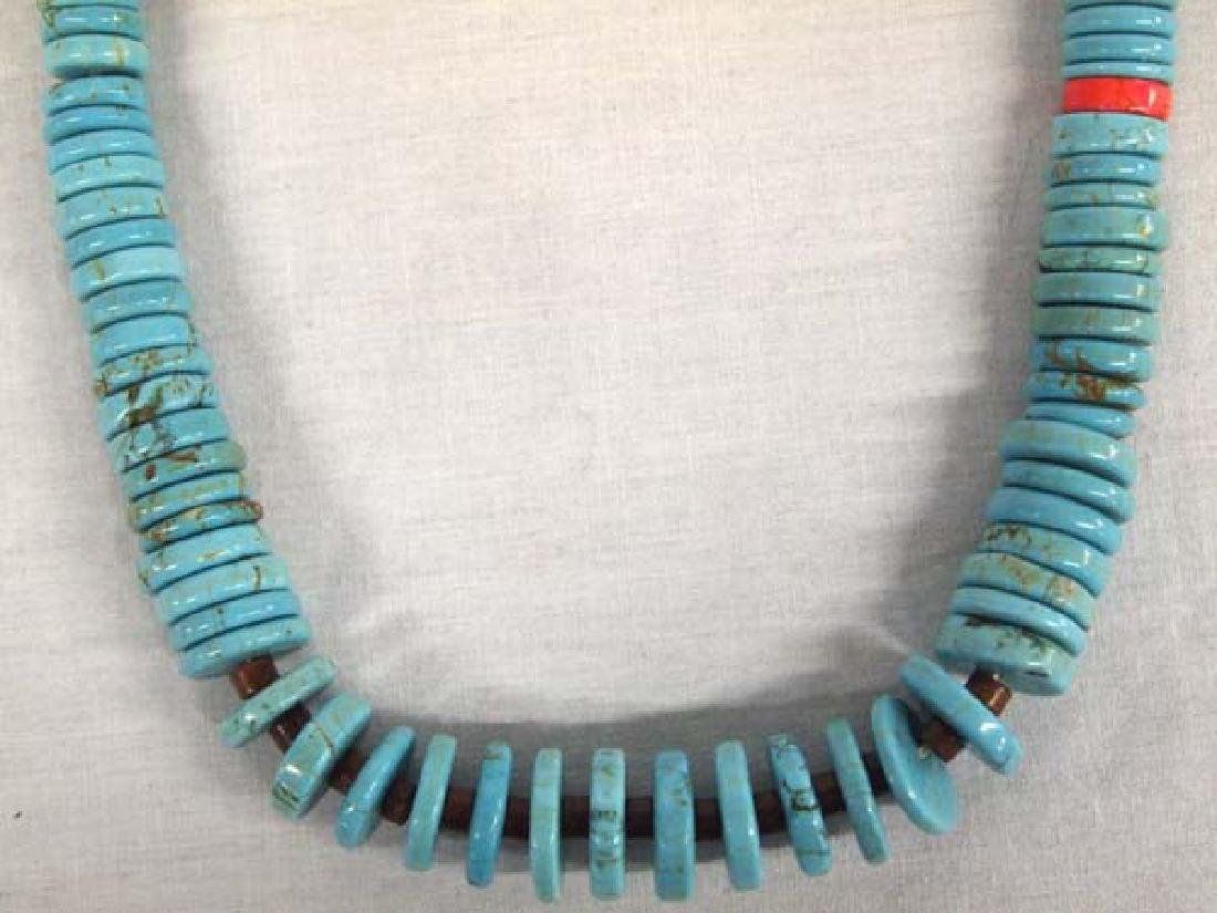 Zuni Turquoise Coral Heishi Necklace