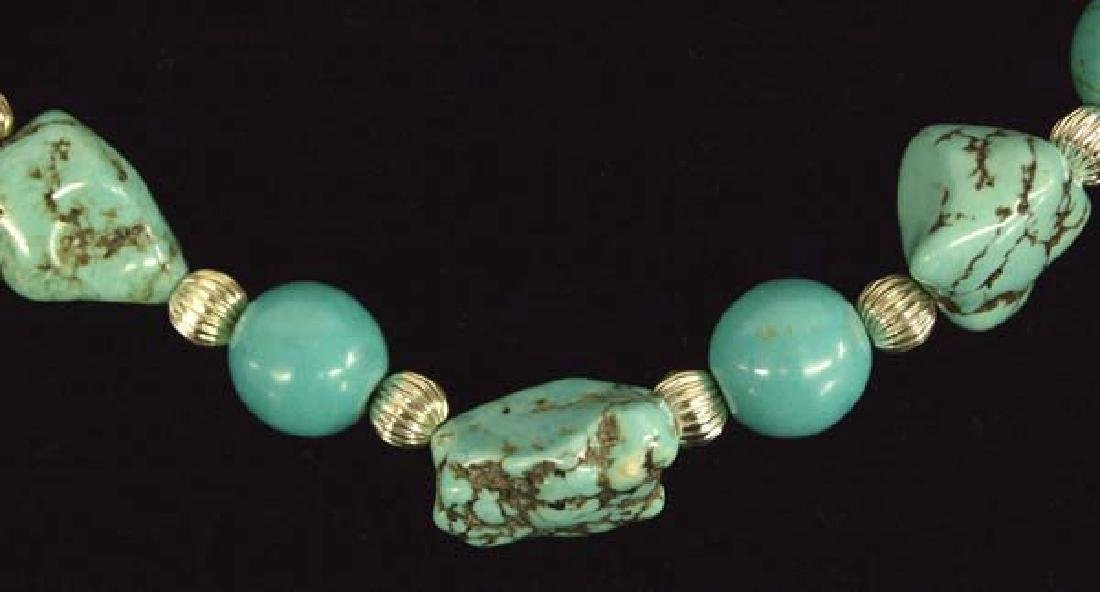 Kingman Turquoise Nugget & Silver Bead Necklace