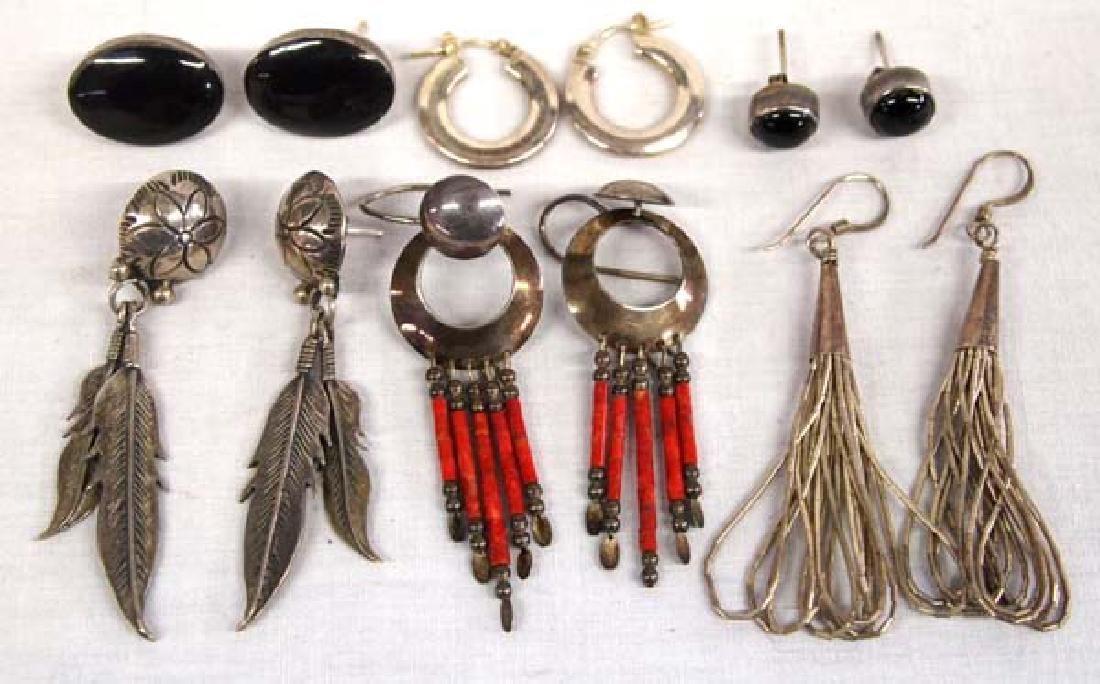 6 Pairs Navajo & Western Sterling Silver Earrings