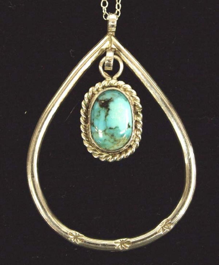 Blue Gem Mine Turquoise Silver Pendant Necklace