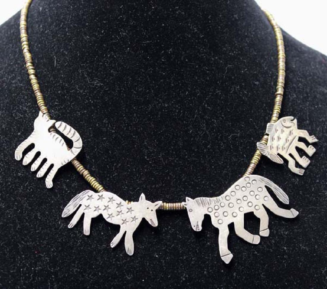 Richard Lindsay Whimsical Sterling Brass Necklace