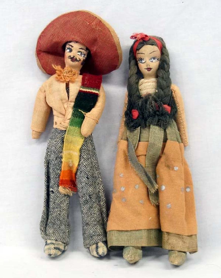 Vintage Mexican Hand Painted Cloth Dolls