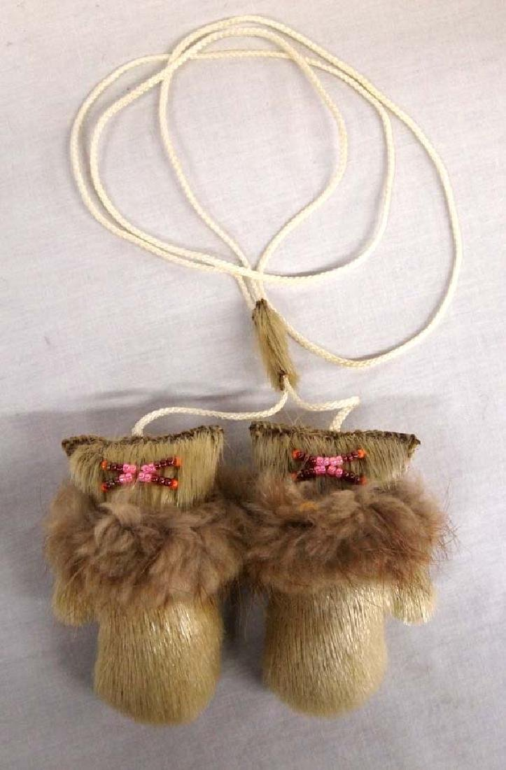 Canadian Inuit Sealskin and Fur Mittens Yoyo Toy