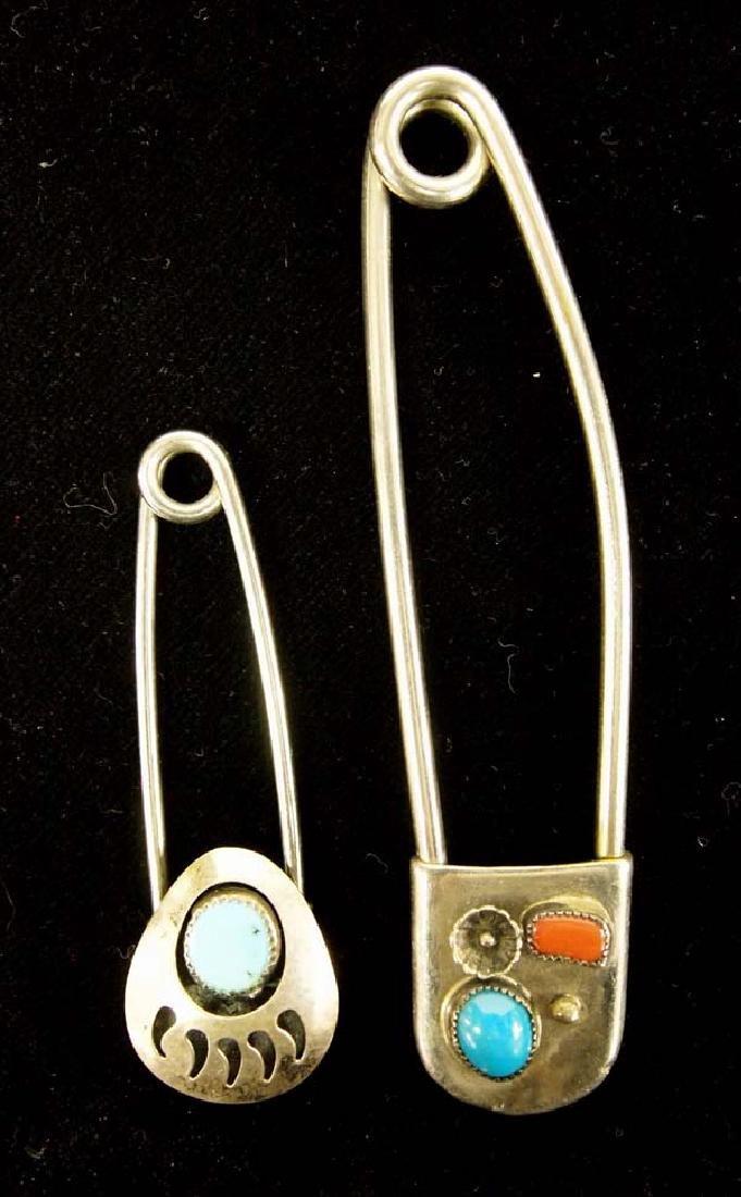 2 Large Navajo Safety Pin Keyrings