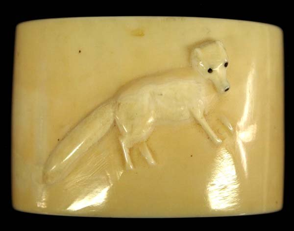Carved Bone Fox Scarf Slide
