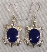 Navajo SS Lapis Turtle Earrings 1in L SH $8