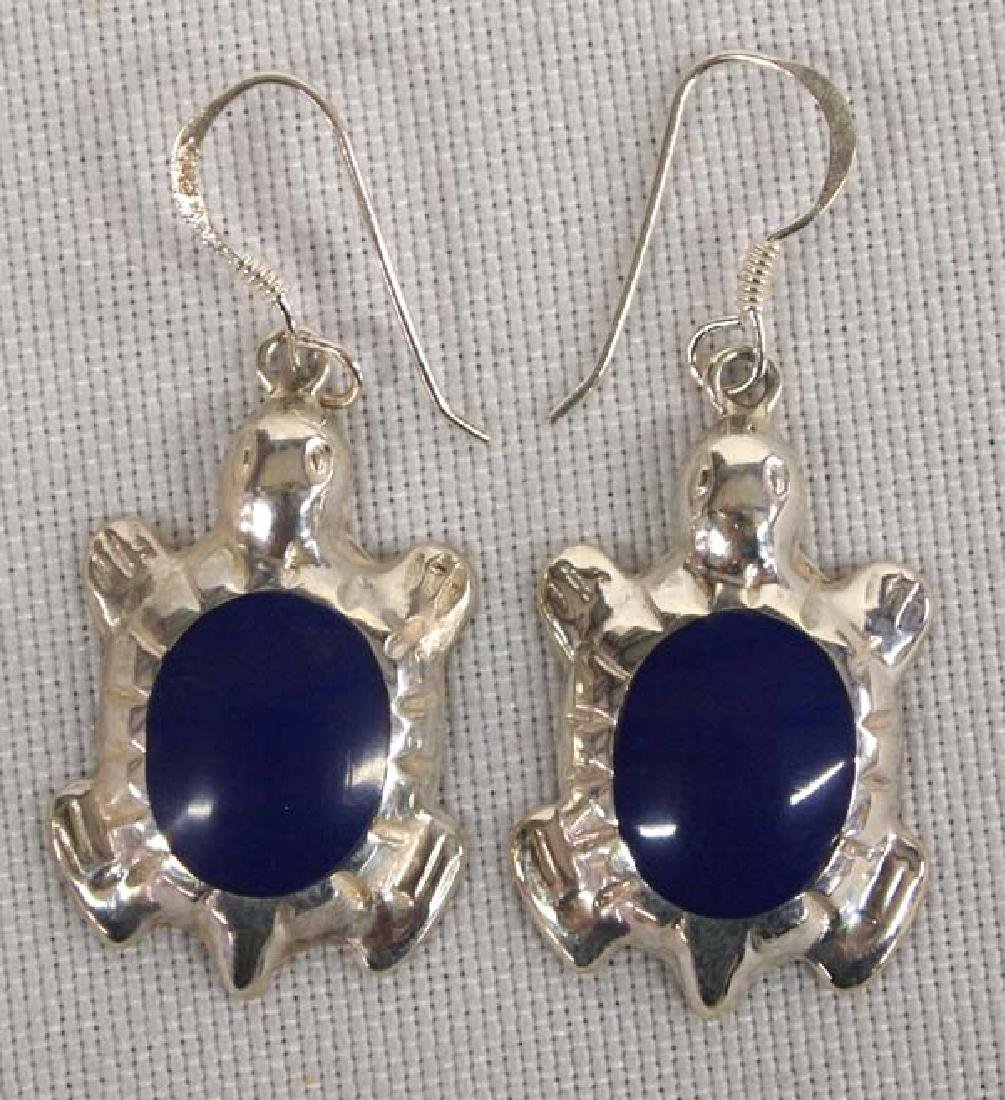 Navajo SS Lapis Turtle Earrings 1in L SH $8