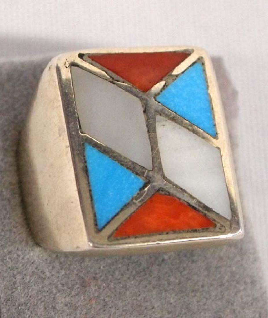 Silver Zuni Inlay Ring Sz 7 3/4 SH $8