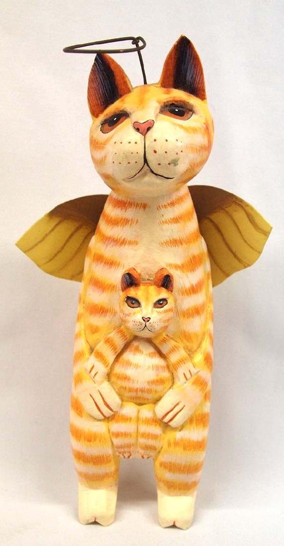 Wooden Angel Cat, 10 in. S&H $14
