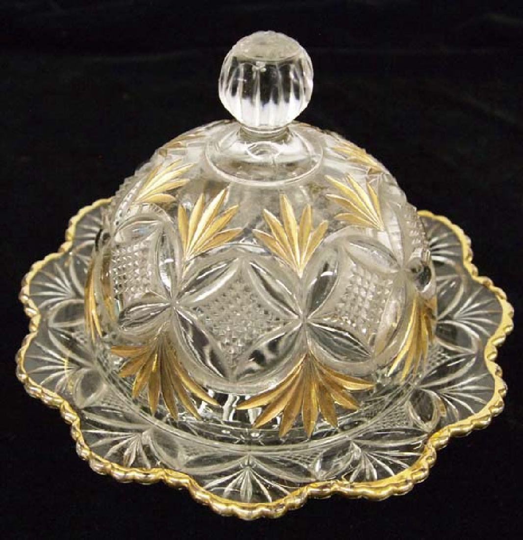 Glass Butter Dish 6in D SH $14