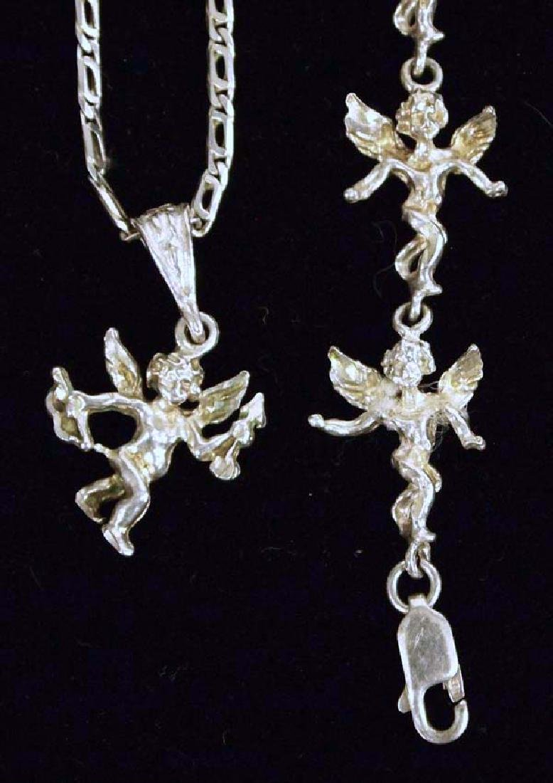 Silver Bracelet & Necklace 7in L SH $8