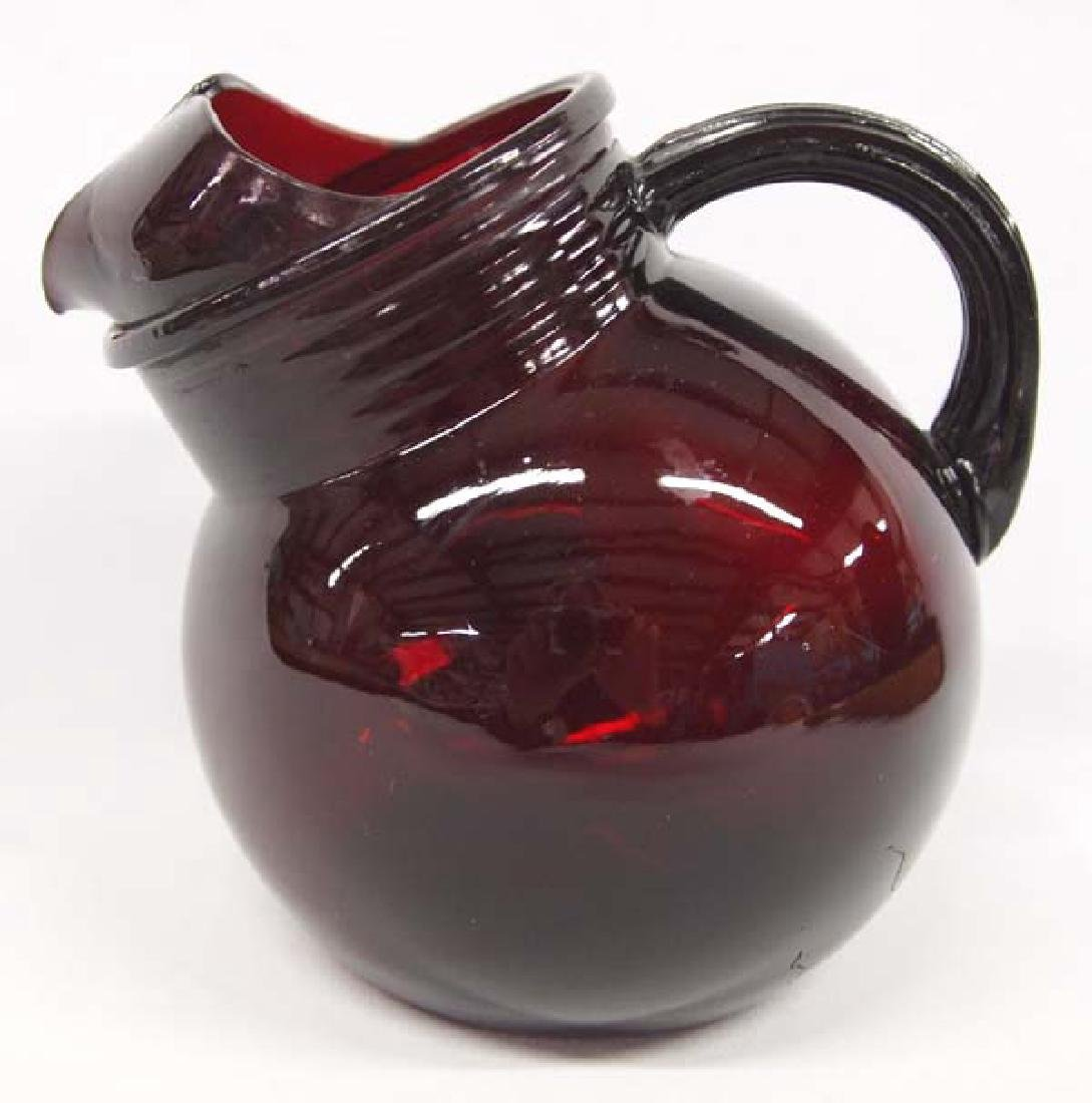 Red Glass Pitcher, 6 x 7 in. S&H $14