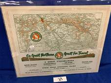 2-sided Great Northern Railway System Map (printed