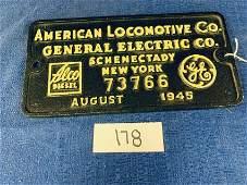American Locomotive Company Builders PlateAugust 1945
