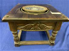 Antique Brass Ship Compass mounted in end-table