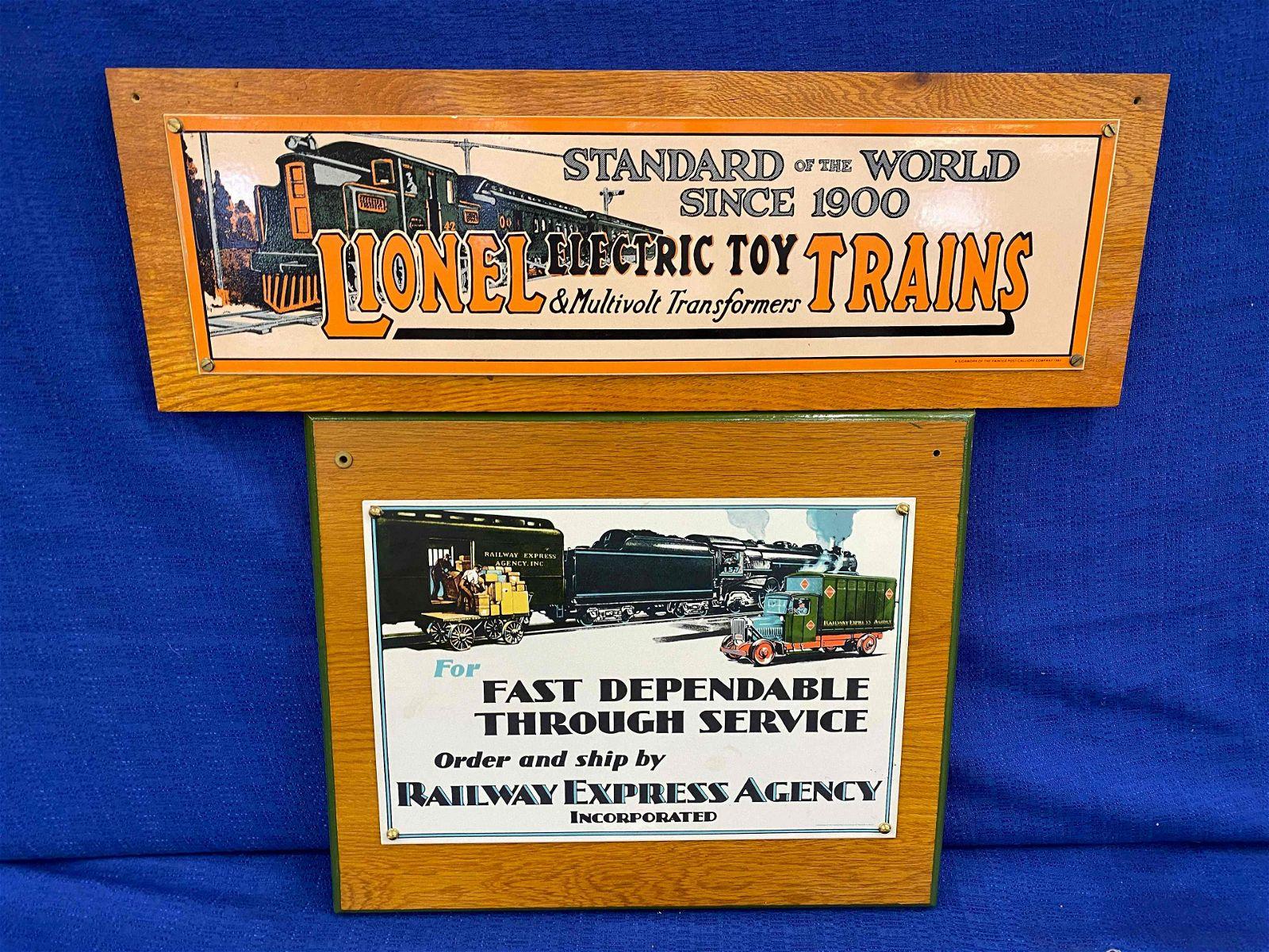 2 Tin Railway Signs Mounted on Wood