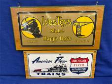 2 Tin Toy Railroad Signs