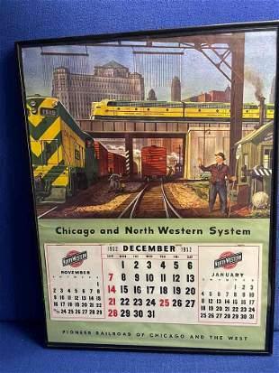 Chicago and Northwestern Railroad Framed Calendar