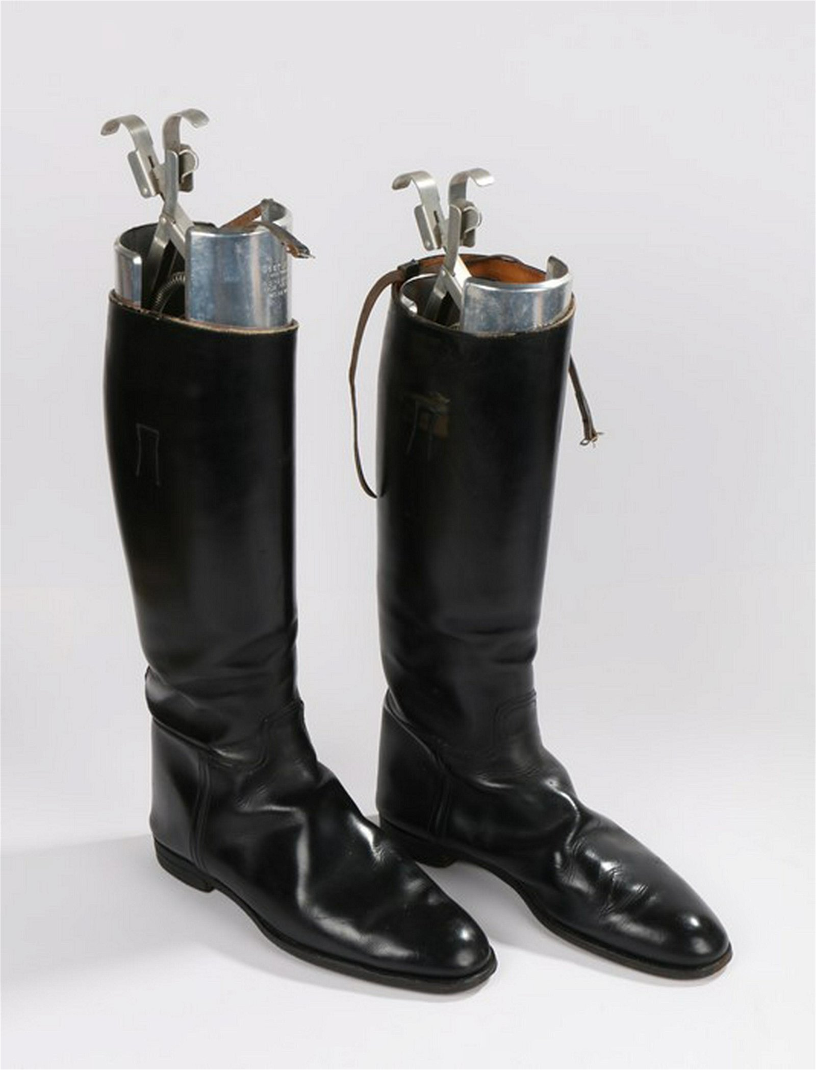 Pair of leather riding boots, in black leather,
