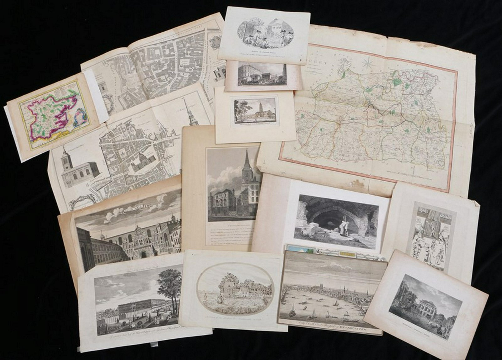 Collection of prints and maps, to include a Cary map of