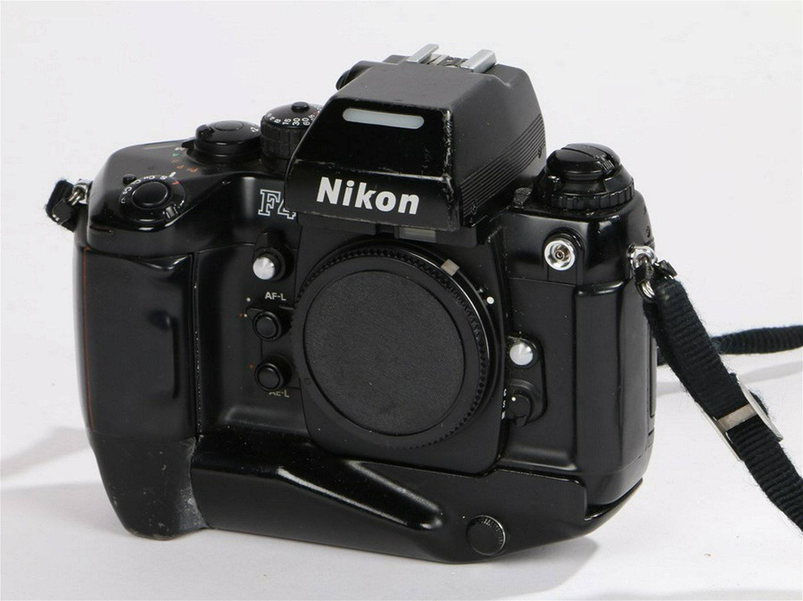 Nikon F4 camera body, No 2404904 with an attached MB-21