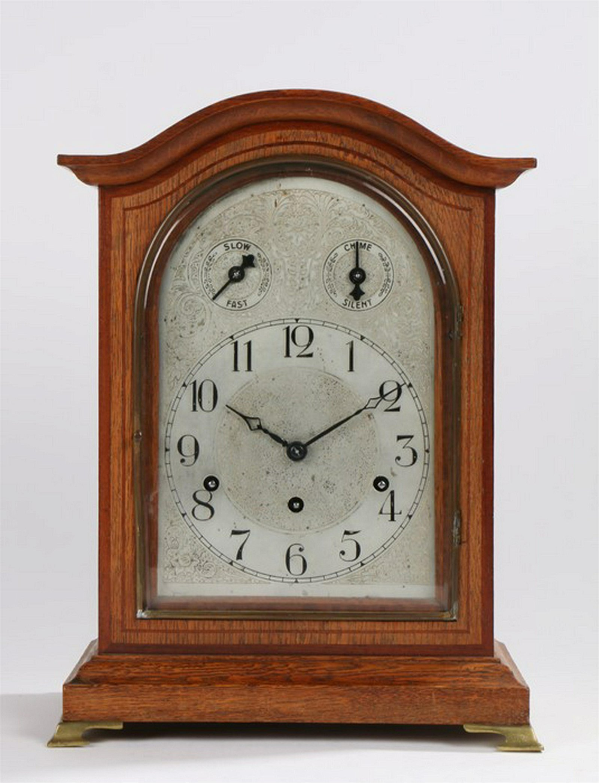 Mid 20th Century German oak case mantel clock, the