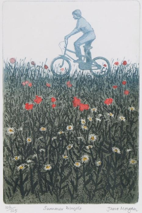 """Jane Morgan, """"Summer Bicycle"""", signed limited edition"""