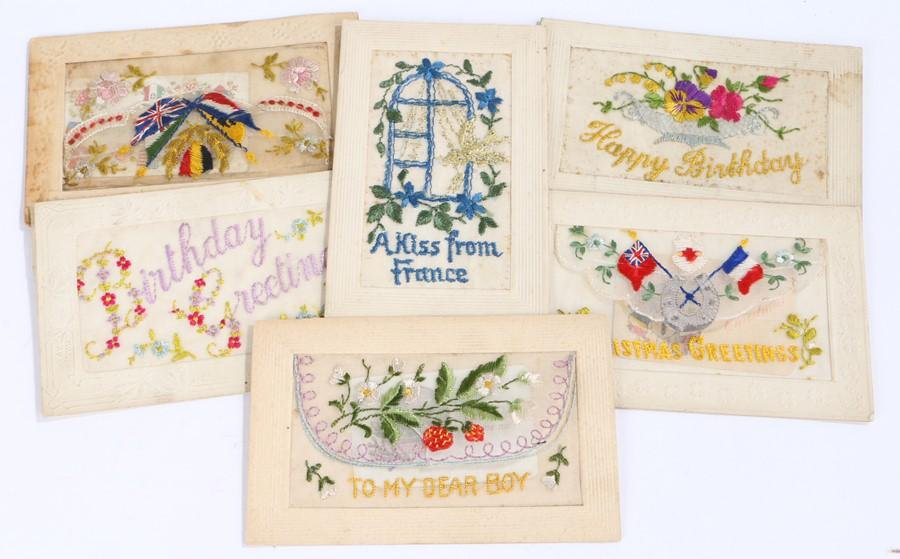 First World War post cards,the embroidered silk