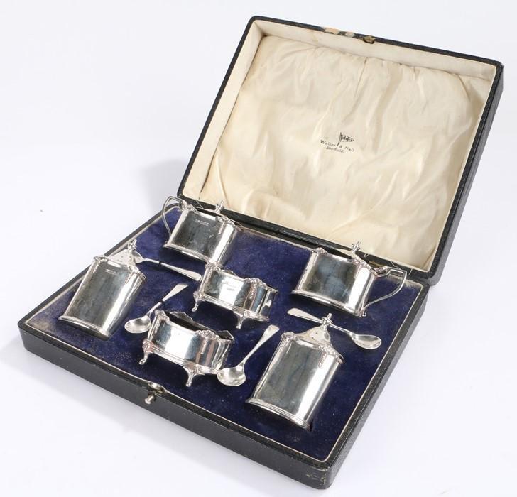 George V silver condiment set, Sheffield 1930, maker