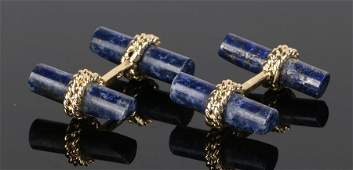 Pair of lapis lazuli cufflinks with bar and rope twist