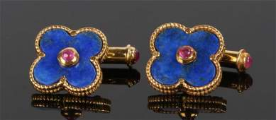 Pair of lapis lazuli and ruby cufflinks, with leaf