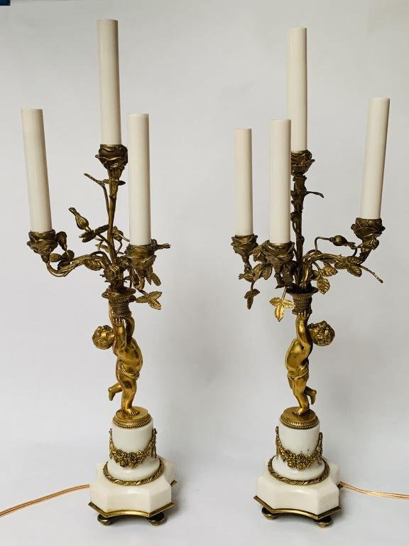 Pair Louis XVI Style Bronze and Marble Candelabra