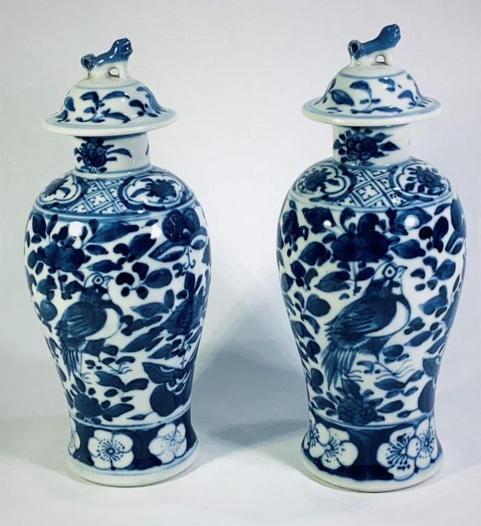 Pair Chinese Blue and White Lidded Jars