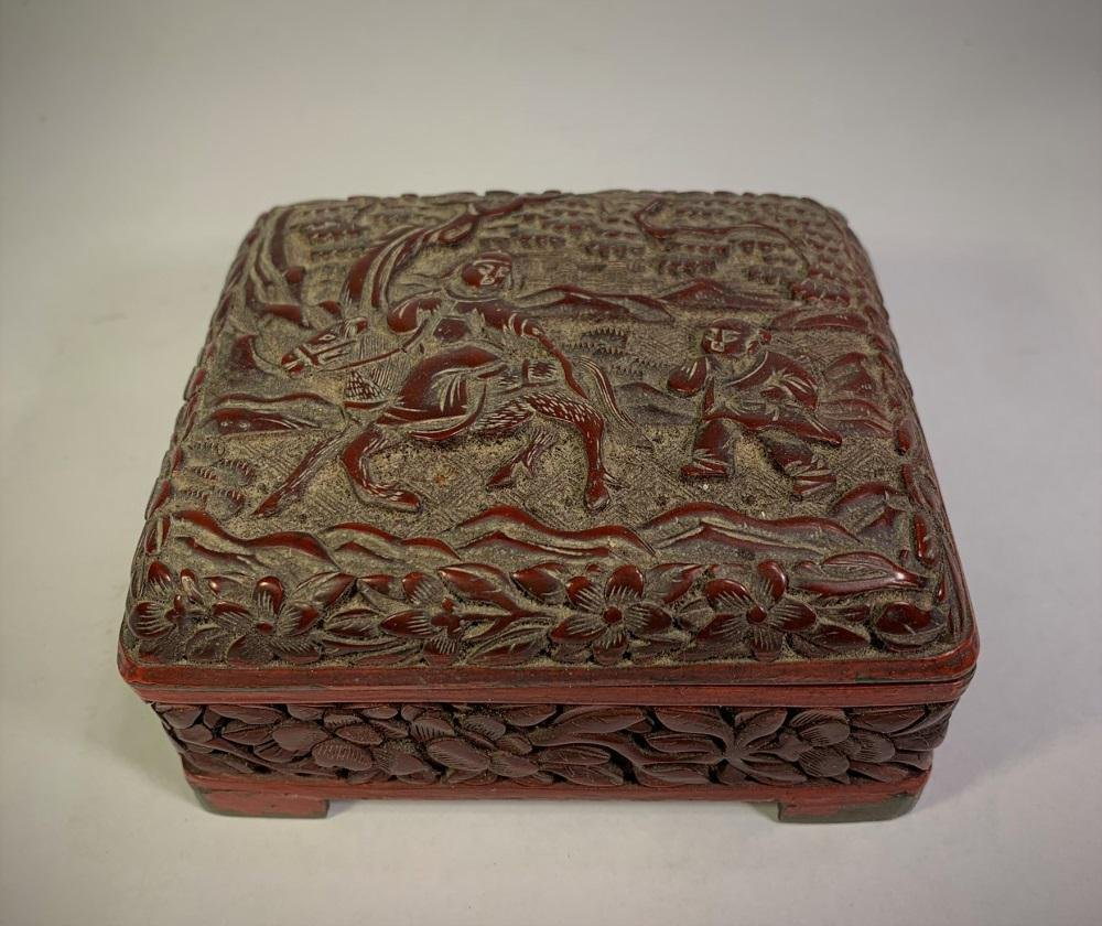 Early Chinese Carved Cinnabar Box