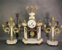 Antique 3 PC Clock Garniture Set
