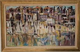 """Mid Century Oil/Canvas """"French Port"""""""