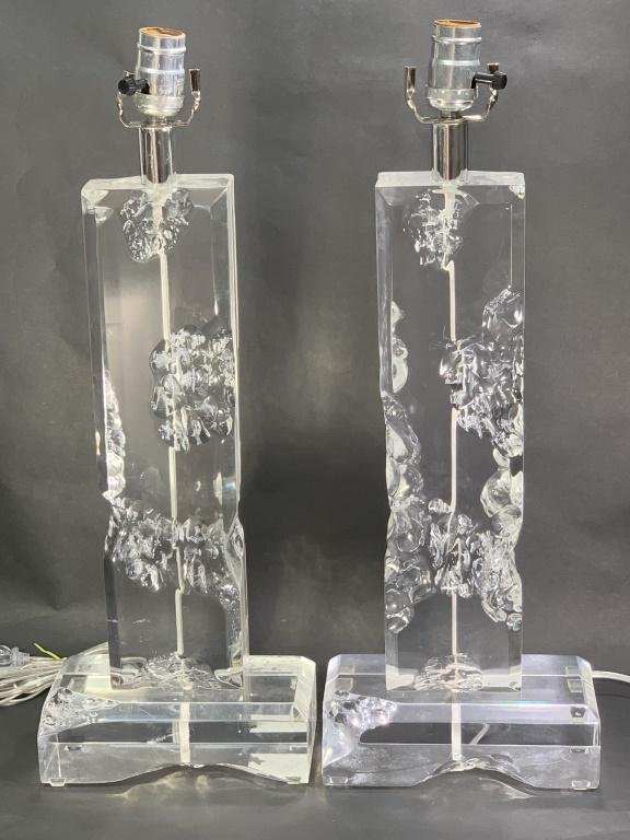 Pair Van Teal Cracked Ice Lucite Lamps