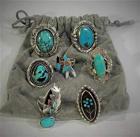 7 Vintage Turquoise & Silver Rings