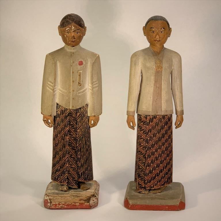 Pair Vintage Asian Polychrome Carved Wood Figures